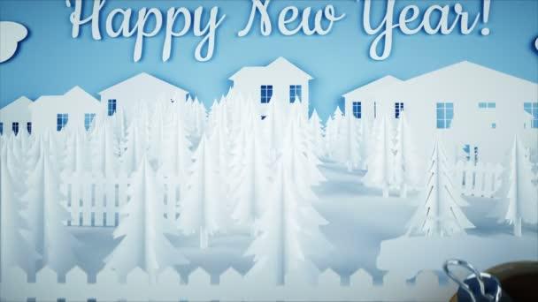 Papírové město na stole. Šťastný nový rok a Vánoce koncepce. Sněhulák a dárky. Realistické animace 4 k