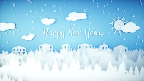 Nový rok papírové ploché animace. Šťastný nový rok a Vánoce pozadí. Sněžení. Realistické animace 4 k