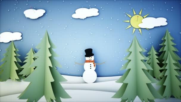 Schneemann Papier flach Animation. Frohes neues Jahr und Weihnachten ...