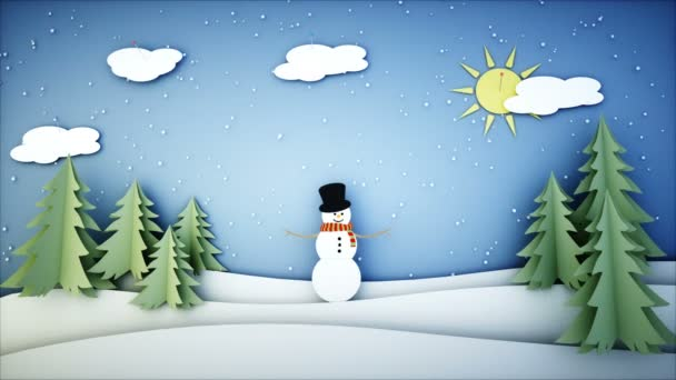 Sněhulák papírové ploché animace. Šťastný nový rok a Vánoce pozadí. Sněžení. Realistické animace 4 k.