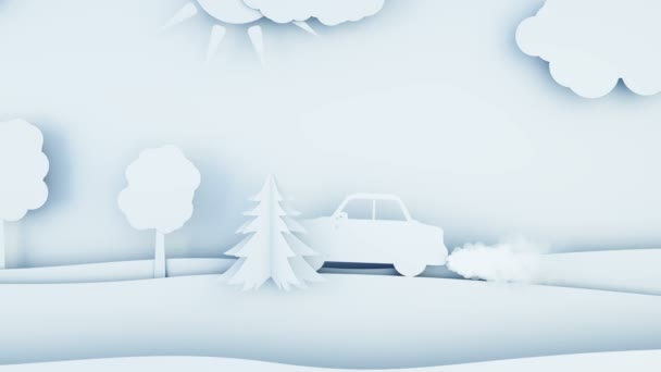 Paper car pollutes the atmosphere. Smog. Creative ecological concept. Realistic 4k animation.