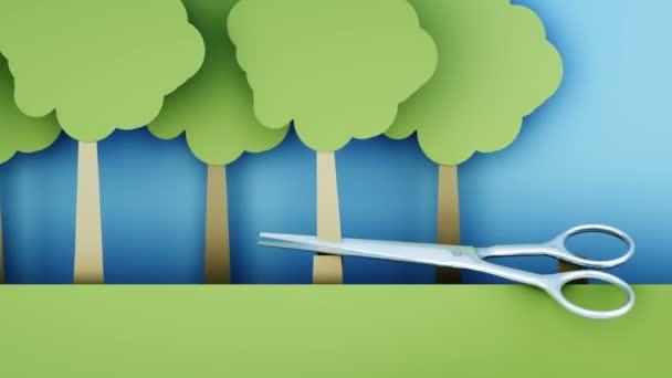 odlesňování. Ničení pralesů papíru kovové nůžky. Koncept kreativní ekologie. Realistické animace 4 k