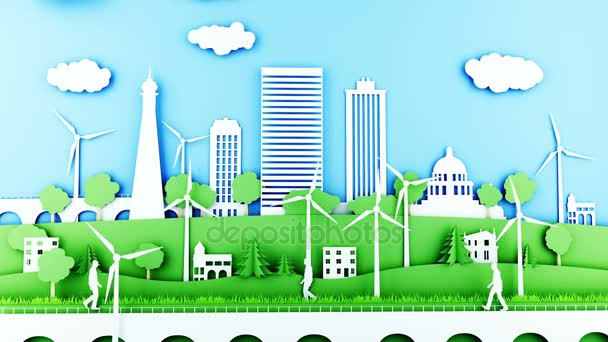 Paper cartoon city with wind power turbines. Ecological concept. Realistic 4k animation.