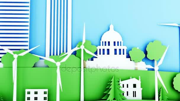 Papír karikatura město s větrné energie turbíny. Ekologický koncept. Realistické animace 4 k.