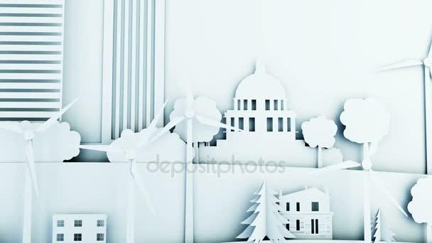 Papír rajzfilm város szélerőmű turbinák. Ökológiai fogalom. Reális 4 k-animáció.