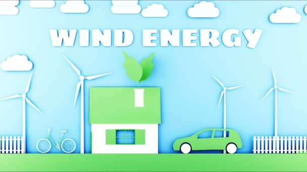 Paper cartoon home with wind power turbines. Ecological concept. Realistic 4k animation.