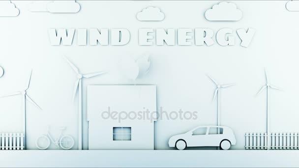 Papír karikatura domů s Větrná energie turbíny. Ekologický koncept. Realistické animace 4 k.