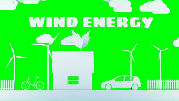 Paper cartoon home with wind power turbines. Ecological concept. Realistic 4k animation. Green screen