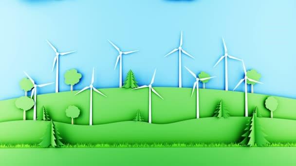 Papír karikatura krajina s větrné energie turbíny. Ekologický koncept. Realistické animace 4 k.