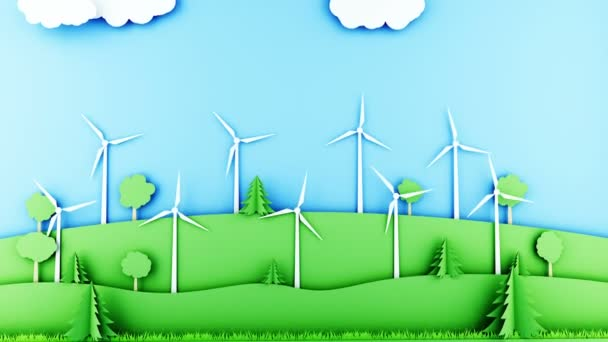 Paper cartoon landscape with wind power turbines. Ecological concept. Realistic 4k animation.