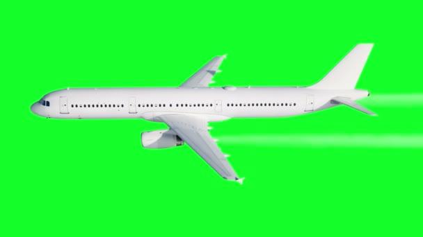 Animation eines Passagierflugzeugs. Kondensstreifen eines Flugzeugs. Green Screen 4k Filmmaterial.