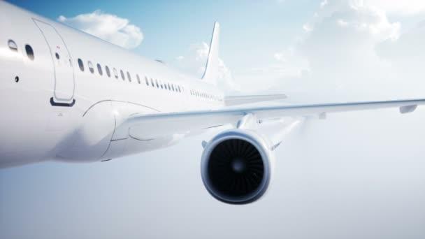Osobní létající letadlo animace. Denní světlo, mraky. Kondenzační stopa letadla. Realistické animace 4 k.
