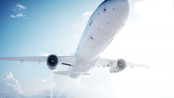 Animation eines Passagierflugzeugs. Tageslicht, Wolken. Kondensstreifen eines Flugzeugs. realistische 4k-Animation.