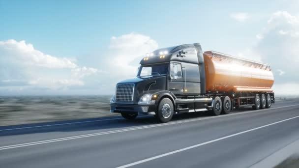 Tanker benzinu, oleje přívěsu kamionu na dálnici. Velmi rychlé jízdy. Realistické 4 k animaci. Koncept ropy.