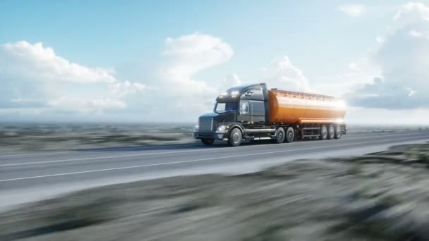 Gasoline tanker, Oil trailer, truck on highway. Very fast driving. Realistic 4k animation. Oil concept.