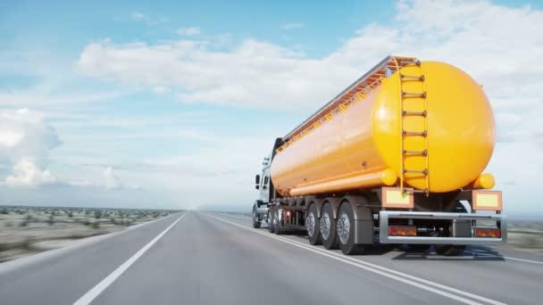 Benzintanker, Ölanhänger, LKW auf der Autobahn. sehr schnelles Fahren. realistische 4k Animation. Ölkonzept.