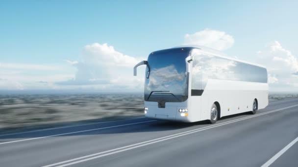 turistické bílý autobus na silnici, dálnici. Velmi rychlé jízdy. Turistické a cestovní koncept. realistické animace 4 k.