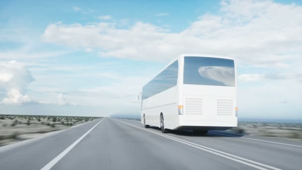 tourist white bus on the road, highway. Very fast driving. Touristic and travel concept. realistic 4k animation.