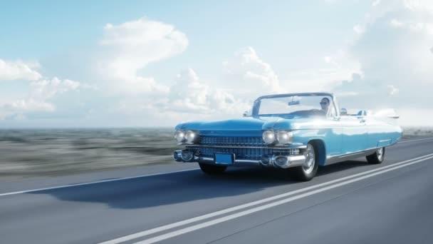 Kék vintage, retro autó úton, autópálya. Nyári. Nagyon gyors vezetés. Reális 4 k-animáció.