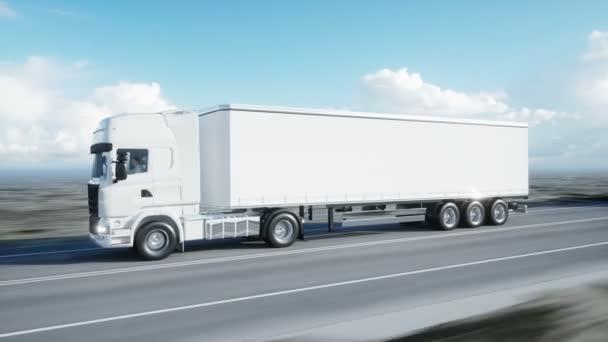 Konvoi weißer Lastwagen. Auflieger auf der Straße, Autobahn. Transporte, Logistikkonzept. 4k realistische Animation.