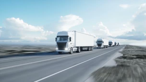 konvoj bílých vozíků. návěs na silnici, dálnici. Transporty, koncepce logistiky. 4 k realistické animace.