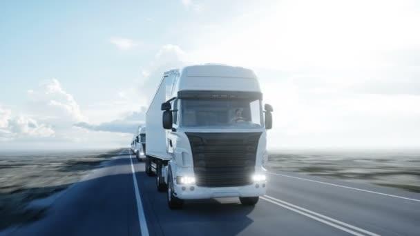 konvoj bílých vozíků. návěs na silnici, dálnici. Transporty, koncepce logistiky. 4 k realistické animace