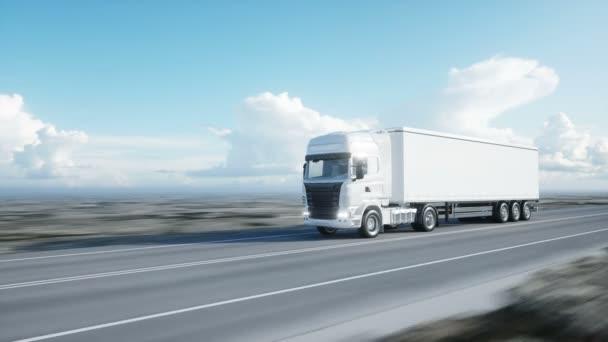 weißer LKW. Auflieger auf der Straße, Autobahn. Transporte, Logistikkonzept. 4k realistische loopable Animation.