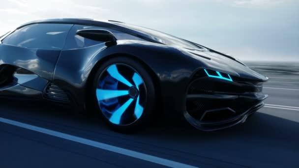schwarzes futuristisches Elektroauto auf der Autobahn in der Wüste. sehr schnelles Fahren. Zukunftskonzept. realistische 4k-Animation.