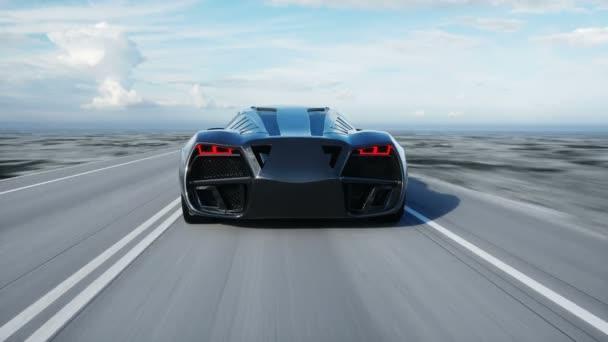 černá futuristický elektromobil na dálnici v poušti. Velmi rychlé jízdy. Koncept budoucnosti. Loopable. záběry. Realistické animace 4 k.