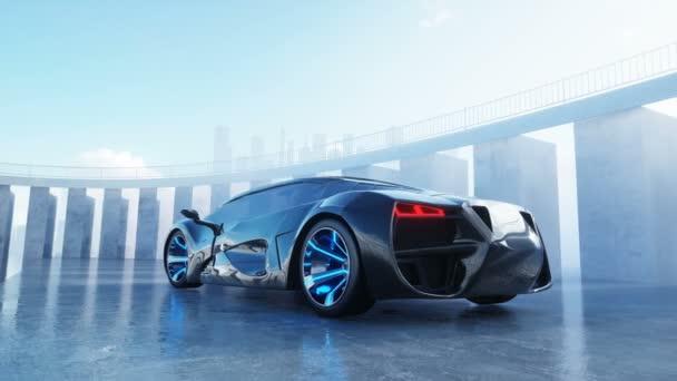černá futuristický elektromobil na nábřeží. Městské mlhy. Koncept budoucnosti. Realistické animace 4 k.