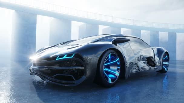 Zwarte Futuristische Elektrische Auto Op De Kust Stedelijke Mist