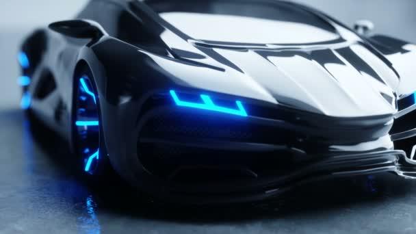černá futuristický elektromobil s modrým světlem. Koncept budoucnosti. Realistické animace 4 k.