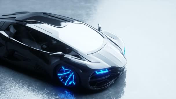 schwarzes futuristisches Elektroauto mit Blaulicht. Zukunftskonzept. realistische 4k-Animation.