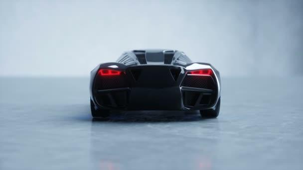 fekete futurisztikus elektromos autó kék fény. Koncepciót a jövő. Reális 4 k-animáció.