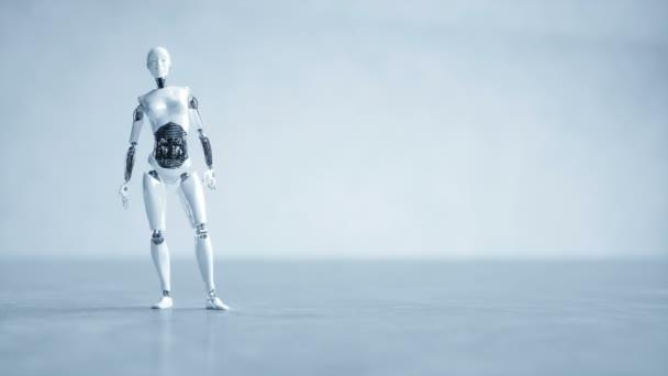 Futuristické humanoidní robot ženské je nečinný. Koncept budoucnosti. Realistické animace 4 k.