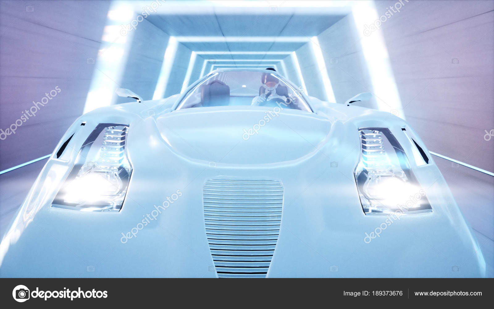 Futuristic flying car with woman fast driving in sci fi