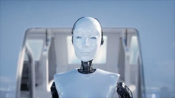 Instruktorka a chůzi. Sci fi stanice. Futuristické jednokolejka dopravy. Koncept budoucnosti. Lidé a roboti. Realistické animace 4 k.