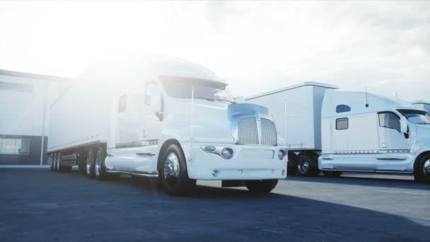 Logistikzentrum mit weißem 3D-Modell von Lastkraftwagen. Logistik, Transport und Geschäftskonzept. realistische filmische 4k-Animation.