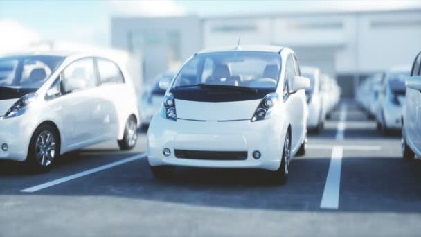 Electric new cars in stock. Car dealership Cars For Sale. Ecology concept. Realistic 4k animation.