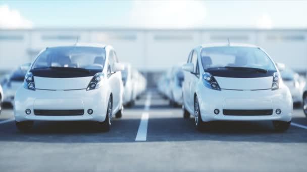 Nové elektromobily na skladě. Autodům auta na prodej. Pojem ekologie. Realistické animace 4 k