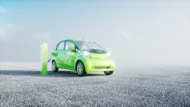 Groene Elektrische Auto Opladen Realistische 4 K Animatie