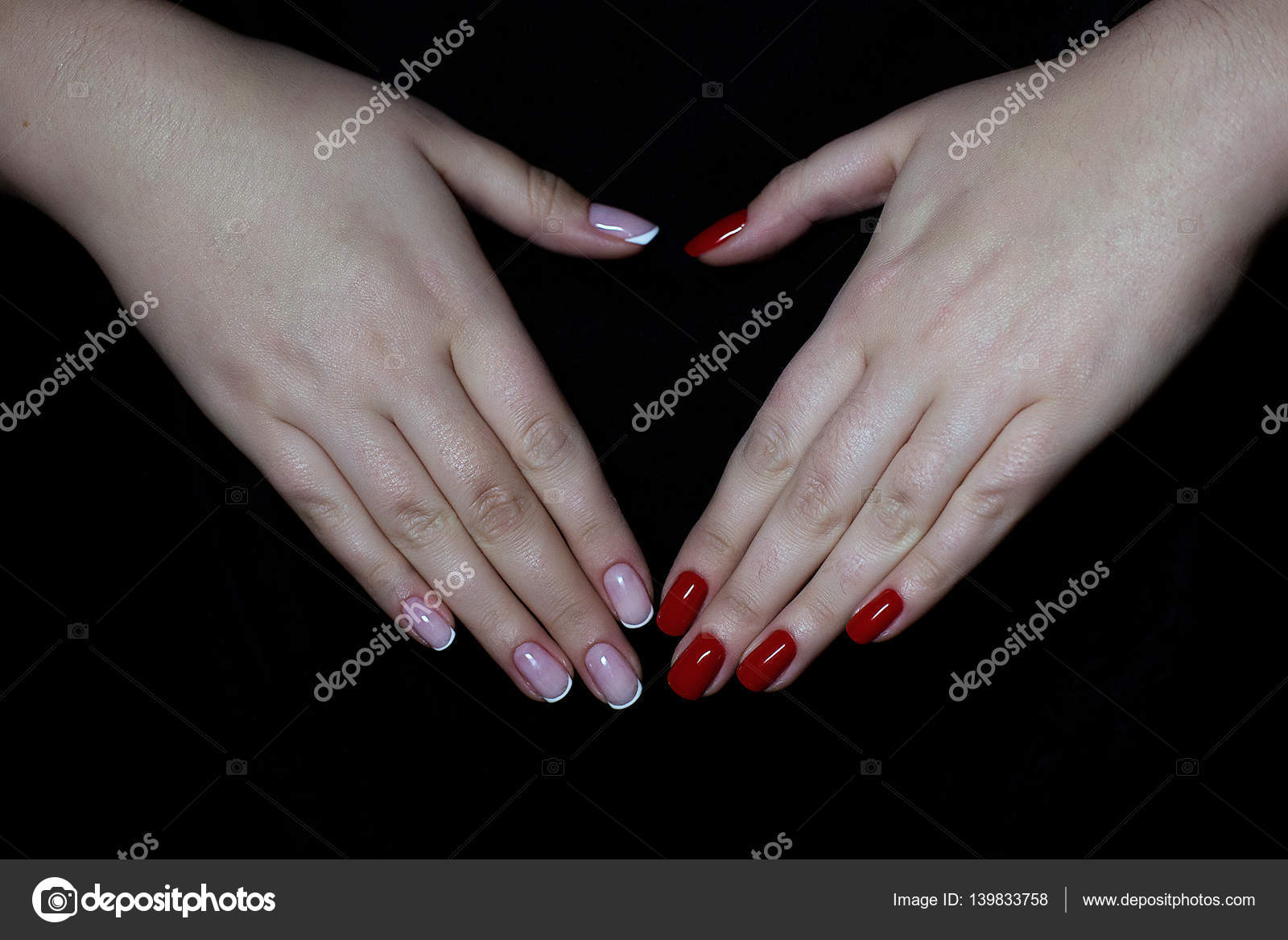 Hands with French manicure and red gel polish — Stock Photo ...