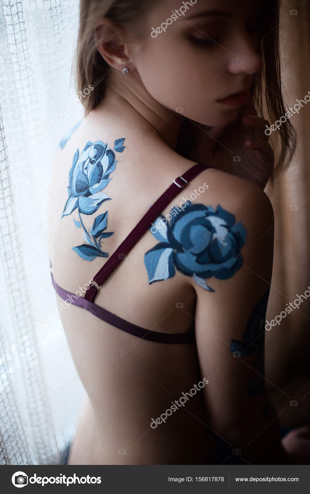 Girl in lingerie with blue roses body art painting — Stock Photo ... e208432ec