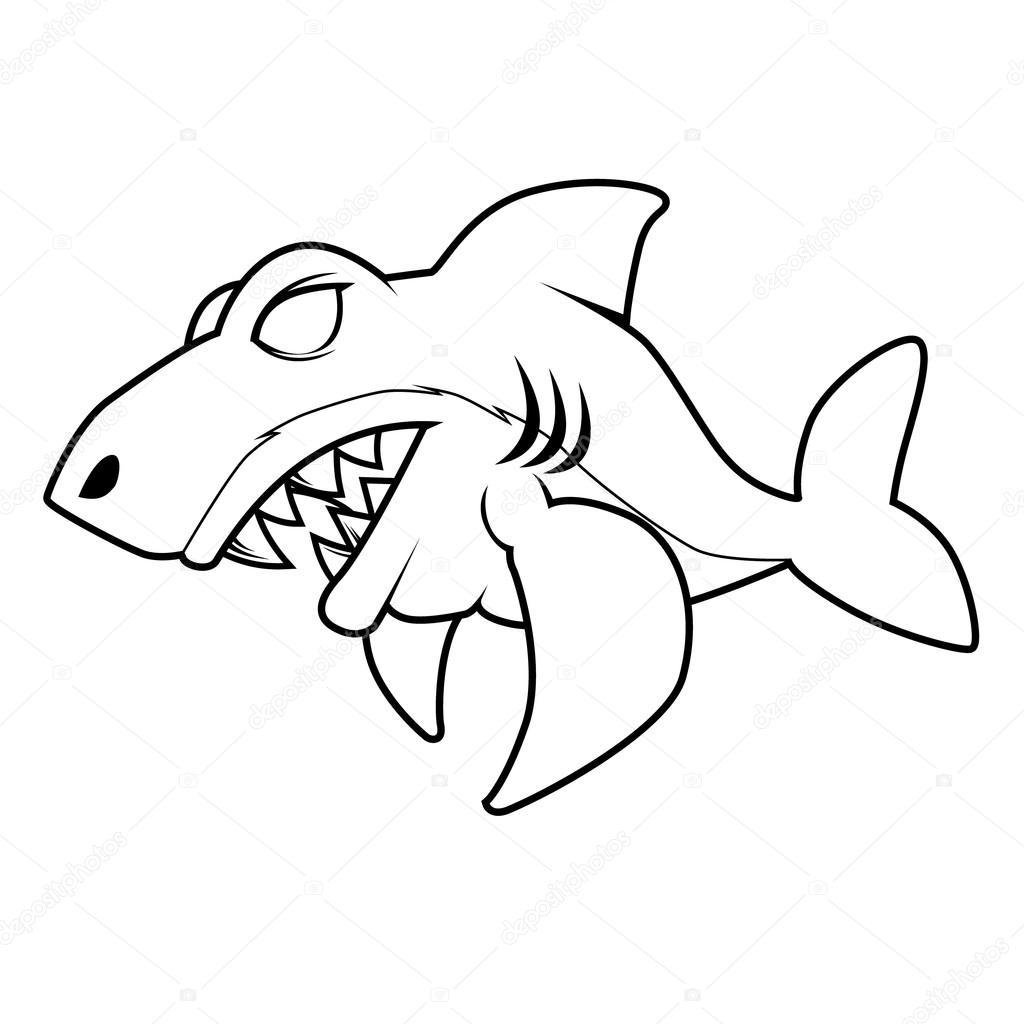 Kızgın Köpek Balığı Hat Sanatı Stok Vektör Vable 125361630