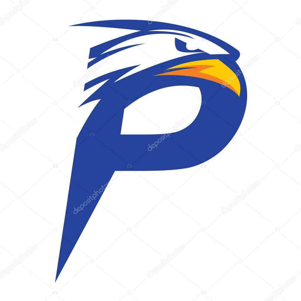 letter p eagle head logo vector blue version � stock