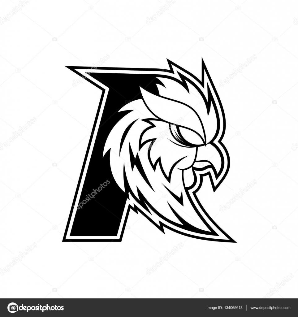 letter r rooster logo - black and white — stock vector © vable