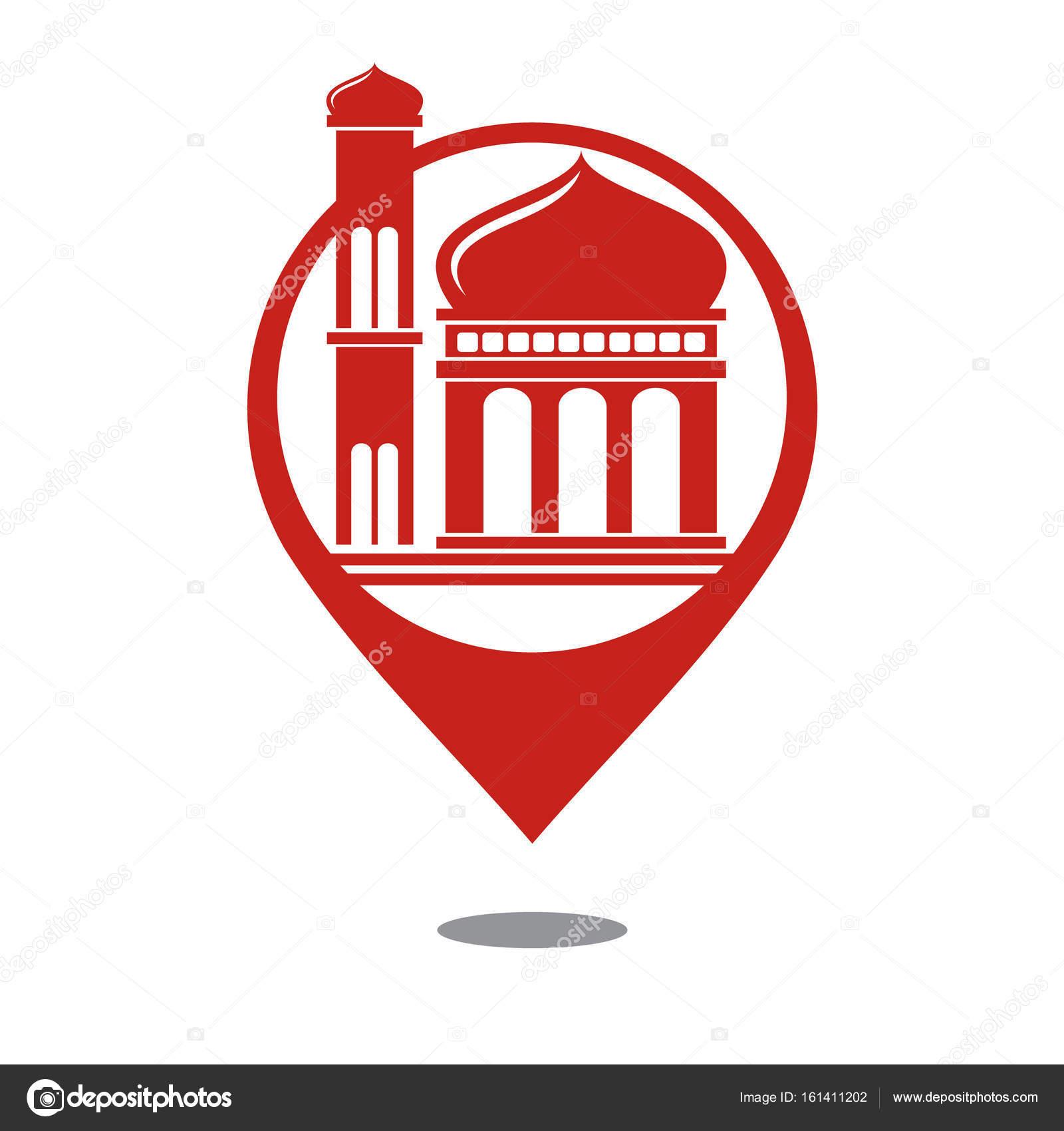 Vector: mosque map symbol | Mosque Map Icon - Vector — Stock