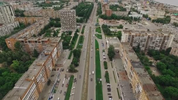 letecký snímek města moderní ruské Samary, hostitelské město světa ve fotbale 2018