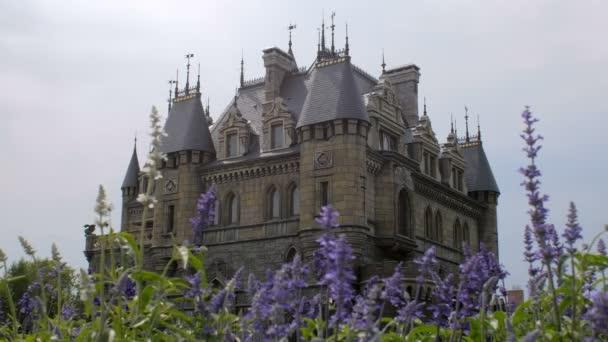 erstaunliche große Burg im mittelalterlichen Stil, blaue Blumen sind auf den ersten Plan