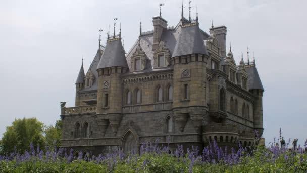statický plán krásný středověký hrad, modré květy na první plán, letní den, žádný vítr